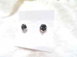 10010 925er Ohrstecker mit Swarovski ® Chaton 8 mm denim blue