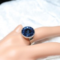 10031 925er Ring mit Swarovski ® Rivoli 14mm denim blue
