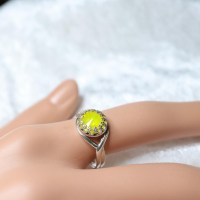 10049 925er Ring mit Swarovski ® Rivoli 8mm yellow opal