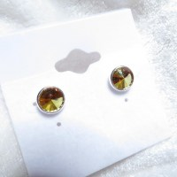 10383 925er Ohrstecker mit Swarovski ® Rivoli 8mm crystal metallic sunshine