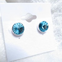 10393 925er Ohrstecker mit Swarovski ® Rivoli 10mm light turquoise
